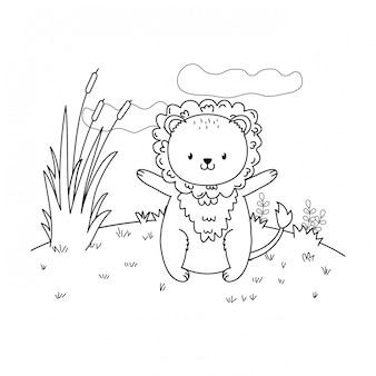 Lion mignon bois dans le caractère de champ