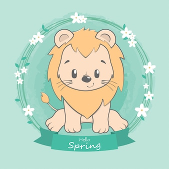 Lion mignon bonjour printemps dessin dessiné à la main