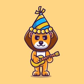 Lion mignon célébrant le nouvel an avec illustration de guitares
