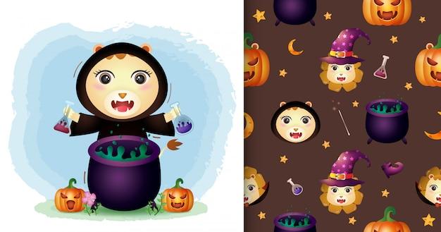 Un lion mignon avec une collection de personnages halloween costume de sorcière. modèles sans couture et illustrations