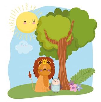 Lion mignon avec couronne et hibou