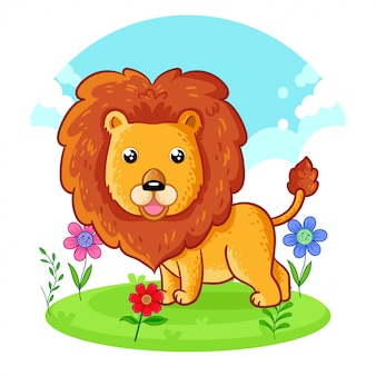 Lion mignon debout sur un pré de fleurs.