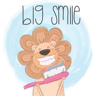 Lion mignon dessinés à la main des animaux illustration-vecteur