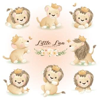 Lion mignon doodle pose avec illustration florale