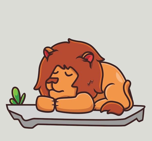 Lion mignon dormir sur le concept de nature animale de dessin animé au sol illustration isolée style plat