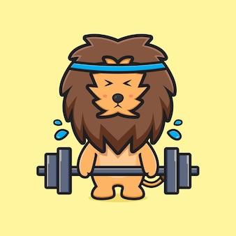 Le lion mignon fait l'illustration d'icône de dessin animé de levage de poids. concevoir un style cartoon plat isolé