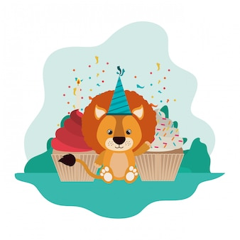 Lion mignon avec un gâteau de joyeux anniversaire