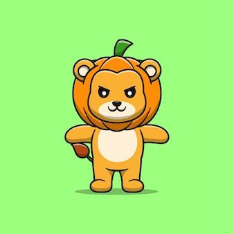 Lion mignon avec illustration de dessin animé citrouille