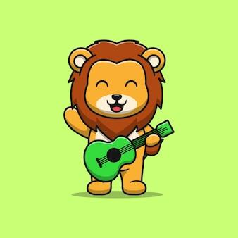 Lion mignon jouant illustration de dessin animé de guitare