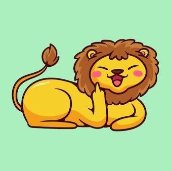 Lion mignon montrant le symbole de la baise