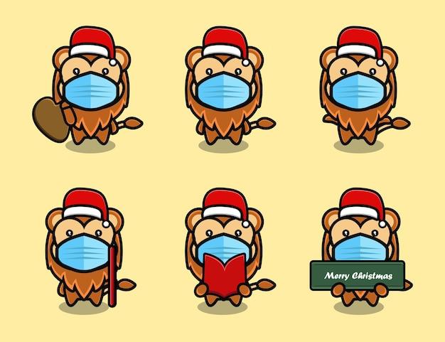 Lion mignon portant un ensemble de dessin animé de mascotte de chapeau de noël