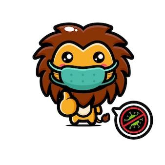 Lion mignon portant un masque avec pose de virus d'arrêt