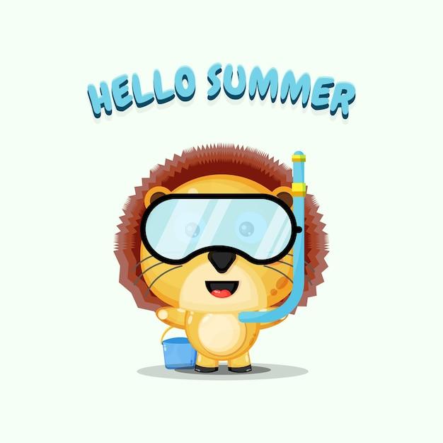 Lion mignon portant des vêtements de plongée avec des salutations d'été