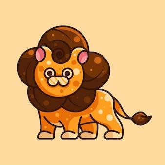 Lion mignon pour le caractère, l'icne, le logo, l'autocollant et l'illustration