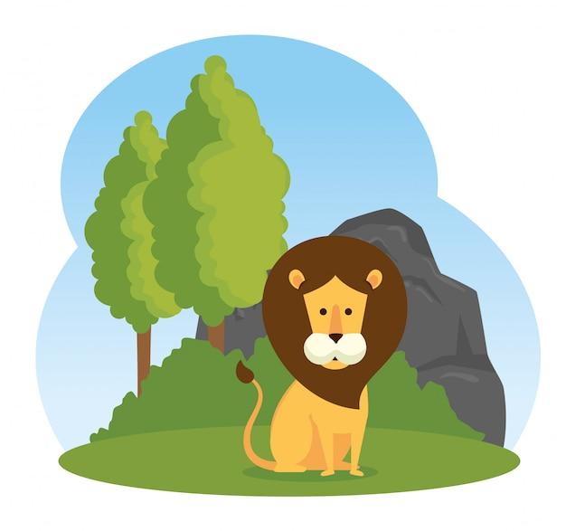 Lion mignon réserve d'animaux sauvages