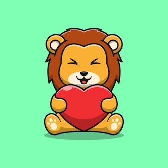 Lion mignon tenant l'illustration de dessin animé d'amour
