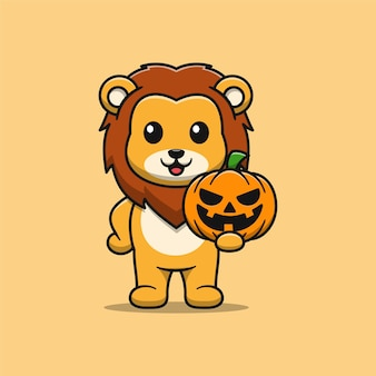 Lion mignon tenant une illustration de dessin animé de citrouille