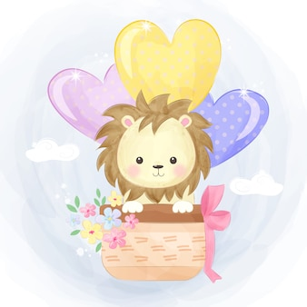 Lion mignon volant avec des ballons d'amour