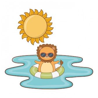 Lion mignonne appréciant le dessin de l'heure d'été