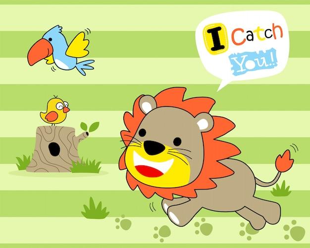 Lion mignonne avec des oiseaux sur fond rayé
