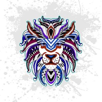 Lion de motif décoratif abstrait