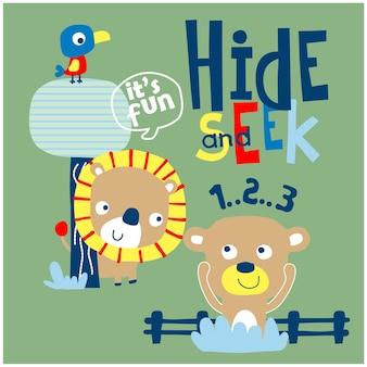 Lion et ours jouant ensemble dessin animé drôle d'animal