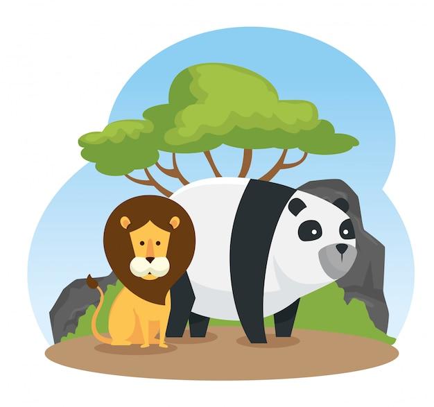 Lion et panda animaux sauvages avec des arbres et des arbustes