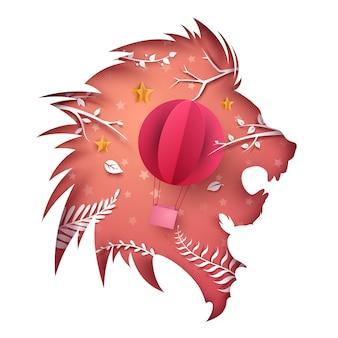 Lion papier dessin animé