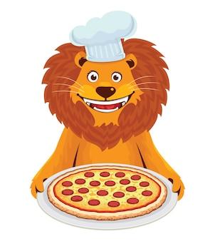 Lion avec pizza