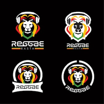 Lion reggae rasta logos