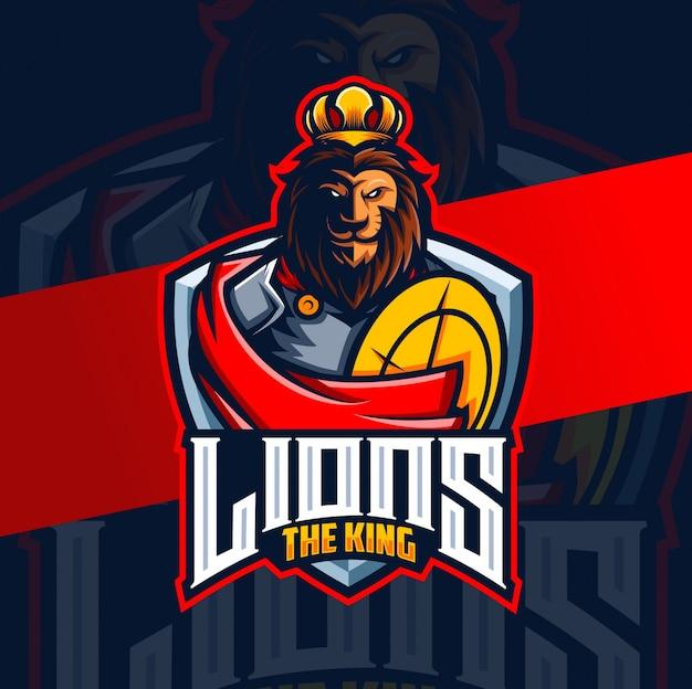 Lion roi chevalier mascotte esport logo