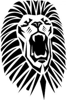 Lion rugissant avec la bouche ouverte