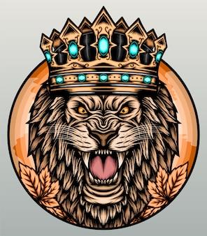 Lion rugissant avec couronne.