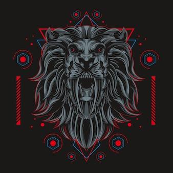 Lion sombre géométrie sacrée