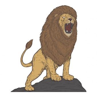 Lion en style de dessin vintage
