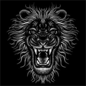 Le lion de tête dessine.
