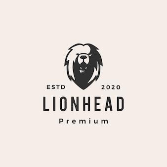 Lion tête hipster logo vintage icône illustration