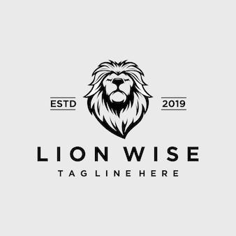 Lion vintage avec création de logo de visage sage