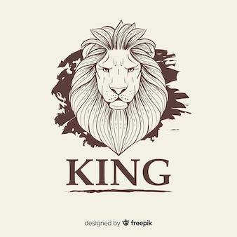 Lion vintage avec fond de slogan