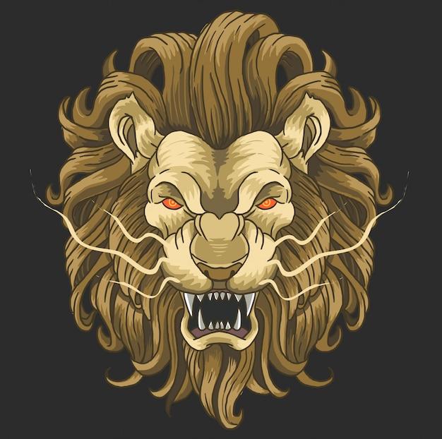 Lion visage en colère animal sauvage