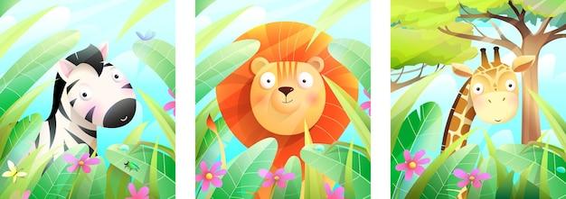 Lion zèbre et girafe dans la nature animaux de zoo affiche ou carte de voeux colorée de la faune africaine