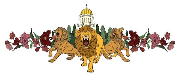 Lions et fleurs