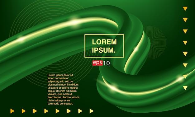Liquide de bannière verte, fluide abstrait de fond.