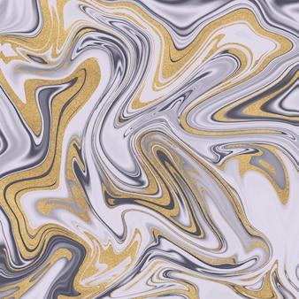 Liquide d'encre pourpre avec texture de paillettes d'or.
