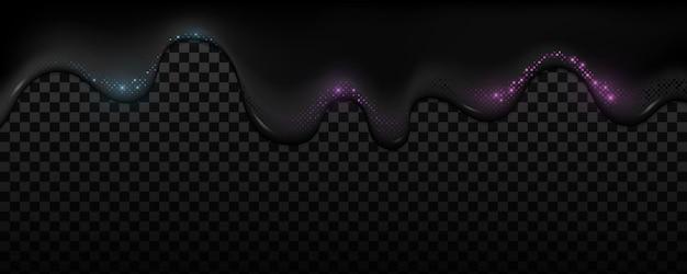 Liquide Noir Futuriste Avec Effet De Demi-teinte Scintillant Violet Et Bleu Sur Une Obscurité Transparente. Forme Fluide Ondulée élégante. Vecteur Premium