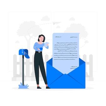 Lire une illustration de concept de lettre