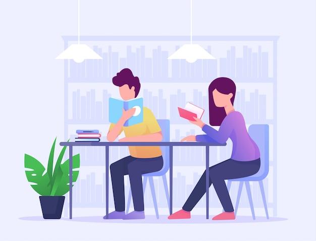 Lire livre fille et homme étudier dans bibliothèque