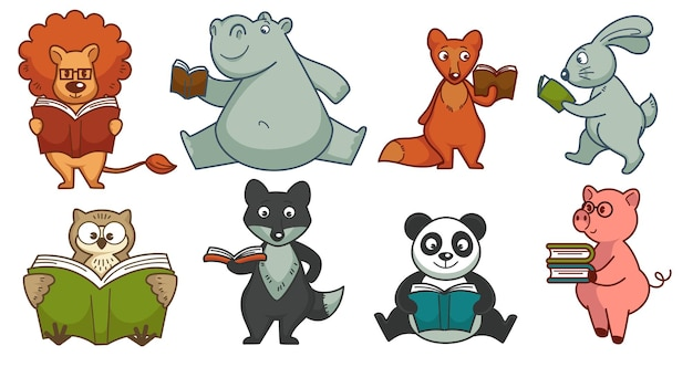 Lire des livres d'histoires et étudier, des personnages animaux amusants qui acquièrent des connaissances avec des manuels scolaires. école et éducation, lion et rhinocéros, lapin et renard, panda et petit porcelet. vecteur dans un style plat