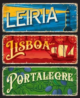 Lisboa, leiria et portalegre, plaques de la province portugaise, enseignes vectorielles en étain. étiquettes et autocollants pour bagages de voyage au portugal avec slogans de bienvenue de la ville portugaise ou monuments et attractions touristiques