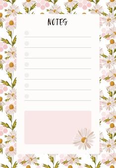 Liste blanche à faire avec place pour les notes.